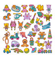color icons of children toys hand drawn vector image vector image