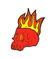comic cartoon flaming skull vector image vector image