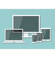 computer moniter laptop tablet and smart phone vector image vector image