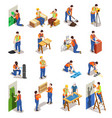 construction workers isometric people vector image vector image