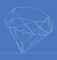 continuous one line drawing diamond icon vector image