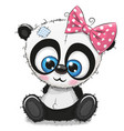 cute cartoon panda girl on a white background vector image vector image