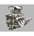 Detailed hot road engine with skull tattoo vector image vector image