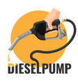 diesel pump promotional logotype with fuel nozzle vector image vector image