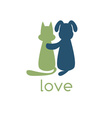 dog hugging cat with love vector image vector image