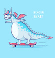 dragon riding skate vector image
