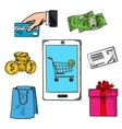 E-commerce concept with payment options vector image vector image