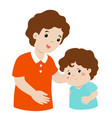 father soothes crying son xa vector image vector image