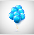 flying bunch blue balloon with shadow shine vector image