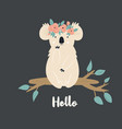 funny cute koala in floral wreath vector image