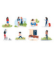girl in daily activity set cartoon young woman vector image vector image