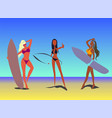 girls rest on beach set vector image vector image