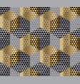 Gold and black geometry hexagon seamless fabric vector image