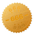 golden 666 medal stamp vector image