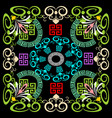 greek floral geometric panel pattern vector image