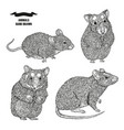 hand drawn rat mouse and hamsters black ink vector image