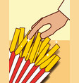hand with french fries menu restaurant vector image