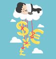 Happy Businessman on a Cloud thinking money vector image