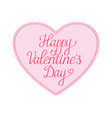 happy valentines day card vith script text on a vector image vector image