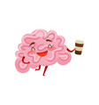 humanized brain laughing and holding plastic cup vector image