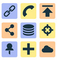interface icons set with pin download add and vector image