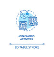 join campus activities turquoise concept icon