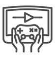 joystick in hands line icon joypad in arms and vector image vector image