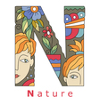 Letter N nature vector image vector image