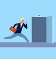 male run to exit businessman fast moving to vector image
