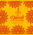 mandalas flowers and candles to diwali light vector image vector image