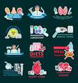 medical clinic icons with doctors and human organs vector image vector image