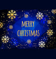 merry christmas card with golden snowflakes vector image