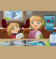 mother daughter washing dishes vector image vector image