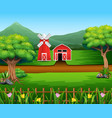 nature landscape with shed and windmill vector image