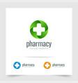 pharmacy logo medicine cross on circle green shape vector image vector image