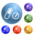 pills pack icons set vector image