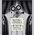 retro cinema poster with camera and black curtains vector image vector image