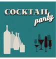 retro teal coctail party invitation card vector image vector image