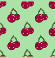 seamless pattern red cherry kawaii funny face with vector image vector image