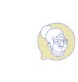 senior female head chat bubble profile icon vector image vector image