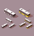 set big and small bus trolley for transportation vector image