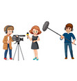 set of broadcast news characters vector image
