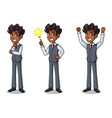 set of businessman in vest getting ideas gesture vector image vector image