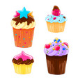 set of four icons in a cartoon style delicious vector image vector image