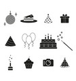 set ot birthday party hapy day icons vector image vector image