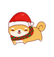 shiba inu cute cartoon christmas vector image vector image