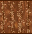 silhouette of leaves flowers on wooden background vector image