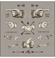 Social network design elements vintage gravure vector image