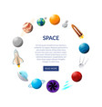 space banner with planets and shuttles vector image vector image