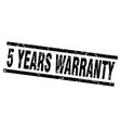 square grunge black 5 years warranty stamp vector image vector image